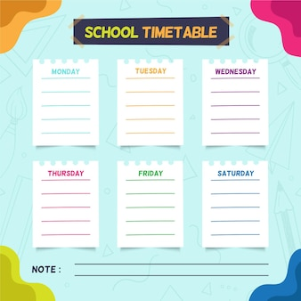 Hand drawn style back to school timetable