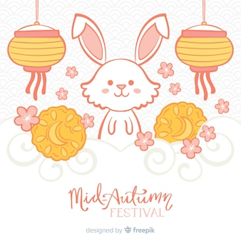 Hand drawn style background for mid autumn festival