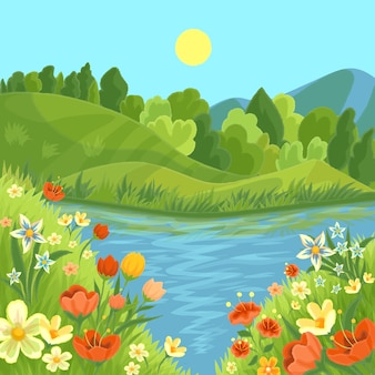 Hand drawn style beautiful spring landscape