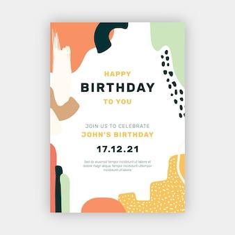 Шаблон приглашения на день рождения в стиле рисованной