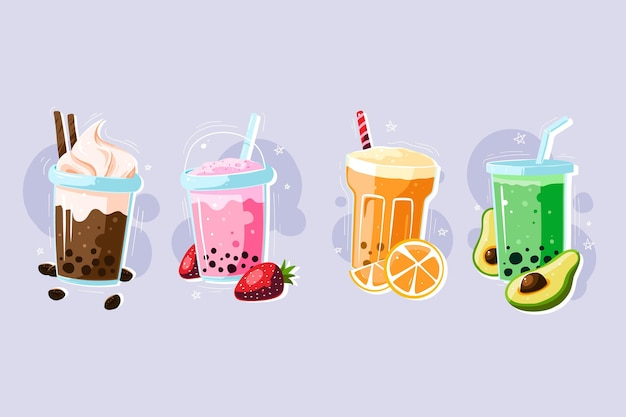 Hand drawn style bubble tea collection