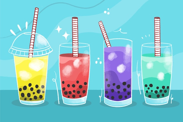 Hand drawn style bubble tea flavors pack