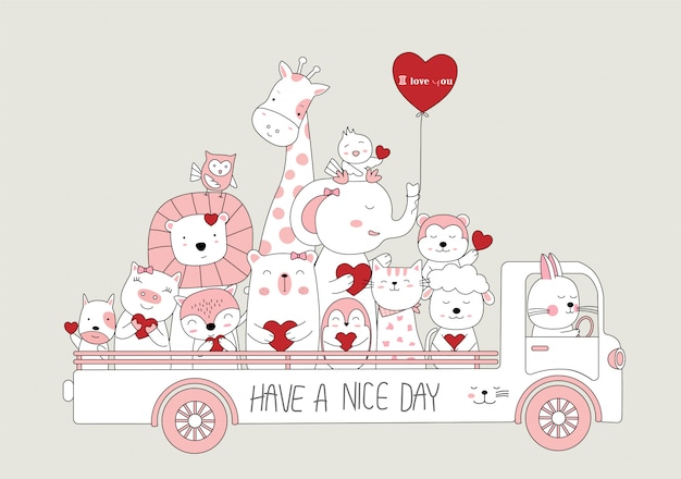 Hand drawn style. cartoon sketch the cute baby animals with car
