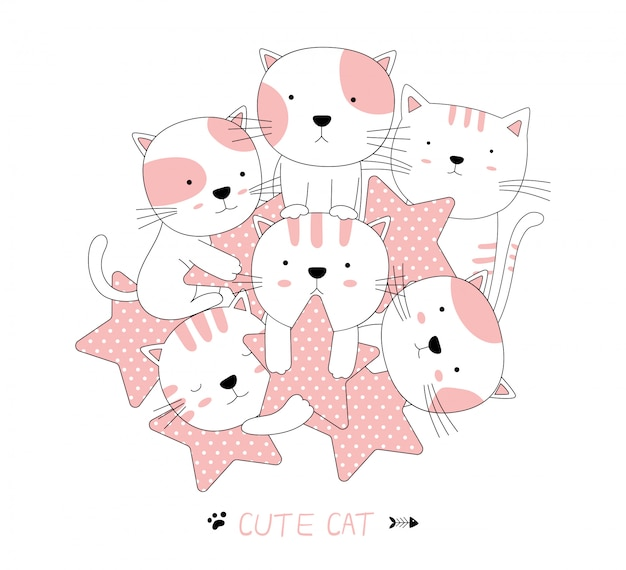 Hand drawn style. cartoon sketch the cute baby cat animal with star