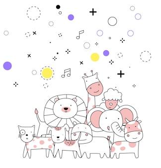 손으로 그린 스타일 만화 스케치 귀여운 아기 동물