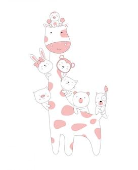 手描きスタイル。漫画スケッチかわいい姿勢の赤ちゃん動物