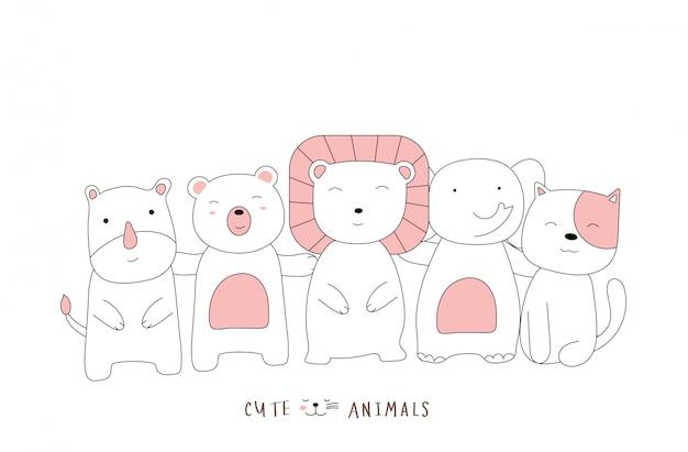 손으로 그린 스타일. 귀여운 자세 아기 동물을 스케치하는 만화