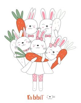 手描きスタイルの漫画は、ニンジンとかわいい姿勢の赤ちゃんウサギの動物をスケッチします