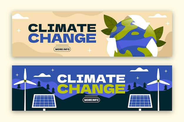 Hand drawn style climate change banners template