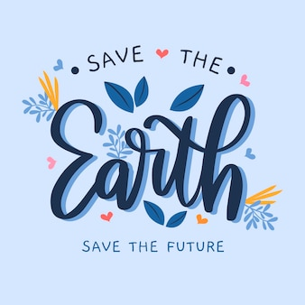 Lettering sul cambiamento climatico in stile disegnato a mano