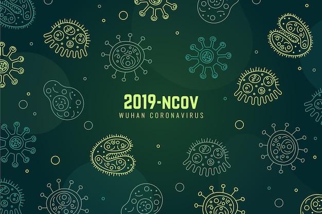Hand drawn style coronavirus concept