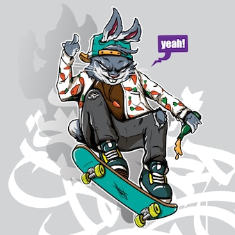 Hand drawn style of crazy bunny riding skateboard