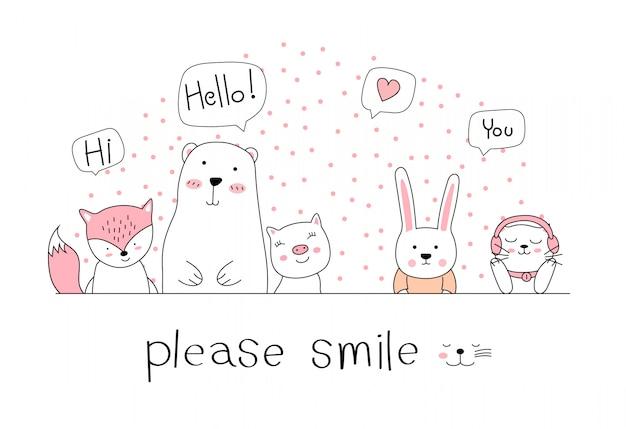 Hand drawn style, cute animal cartoon doodle pastel wallpaper