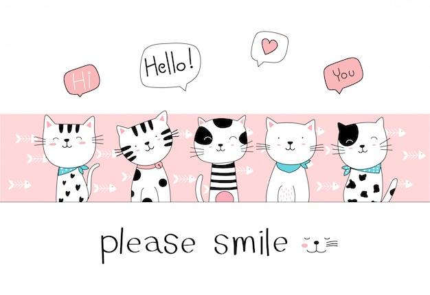 Hand drawn style. cute cat cartoon doodle pastel wallpaper