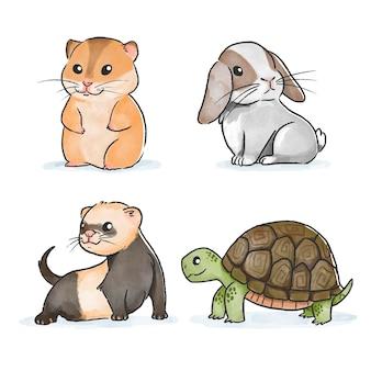 Simpatici animali domestici disegnati a mano