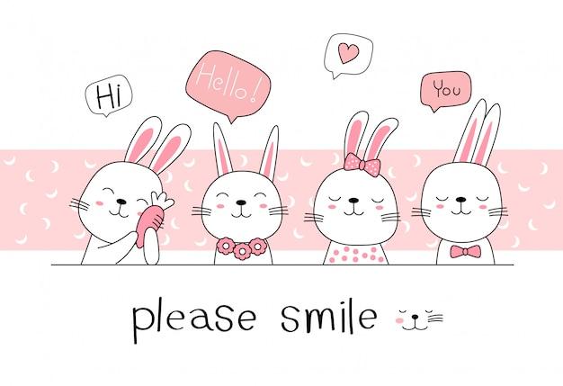 Hand drawn style. cute rabbit bunny cartoon doodle pastel wallpaper