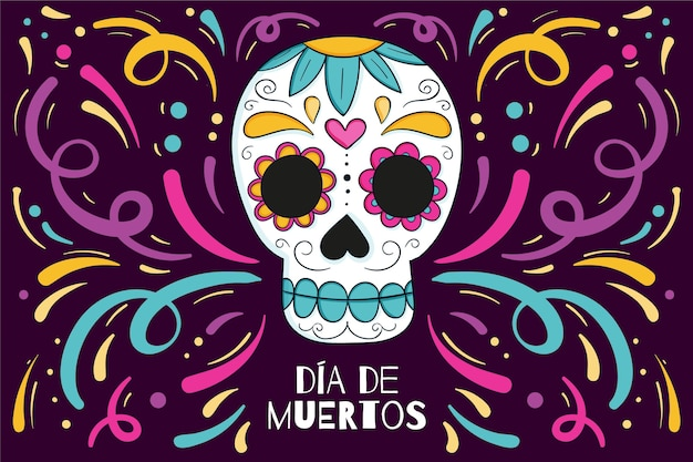 Hand drawn style day of the dead background