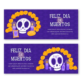 Hand drawn style day of the dead banners
