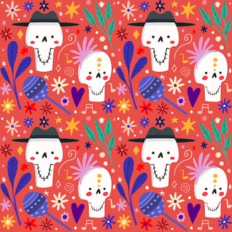 Hand drawn style day of the dead pattern