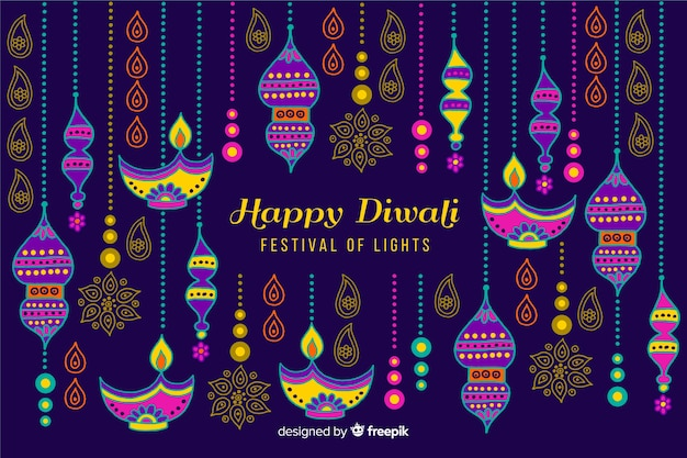 Hand drawn style diwali background