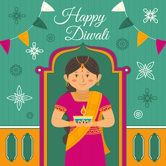 Hand drawn style diwali celebration