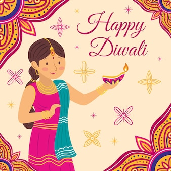Hand drawn style diwali event