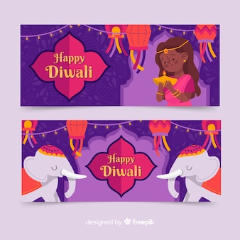 Hand drawn style diwali web banners