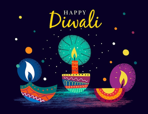 Hand drawn style diwali with candles
