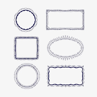 Pacchetto di cornici per scarabocchi in stile disegnato a mano