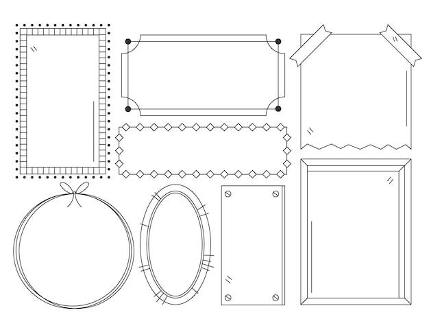 Набор рисованной стиль каракули рамки