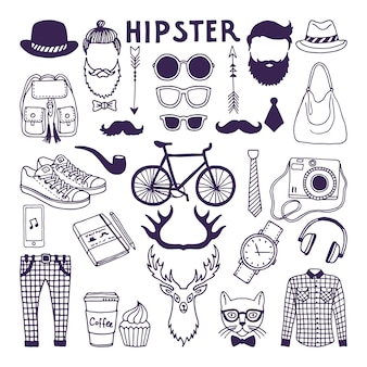 Hand drawn style doodle set of hipster elements. vector illustrations set
