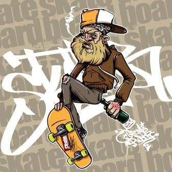 Hand drawn style of drunken man riding skateboard