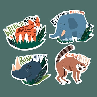 Hand drawn style ecology badges