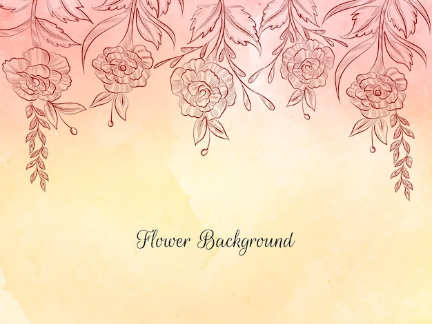 Hand drawn style flower sketch soft pastel background vector