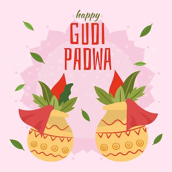 Стиль нарисованный рукой для случая gudi padwa