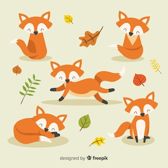 Hand drawn style fox collection