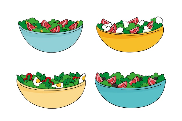 Hand drawn style fruit and salad bowls