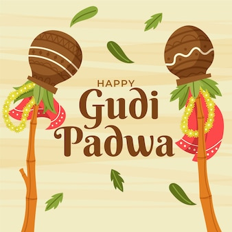 Hand drawn style gudi padwa