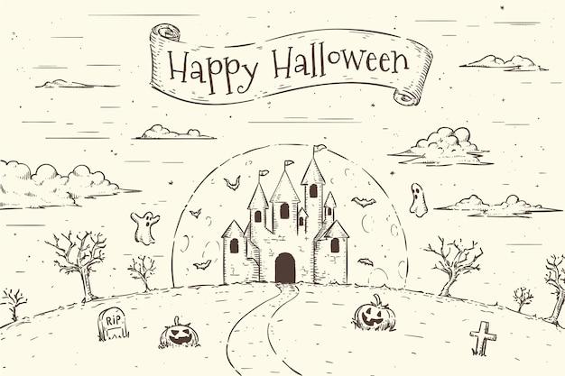 Ручной обращается стиль фона хэллоуин
