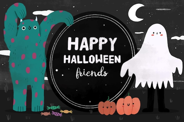 Hand drawn style halloween background