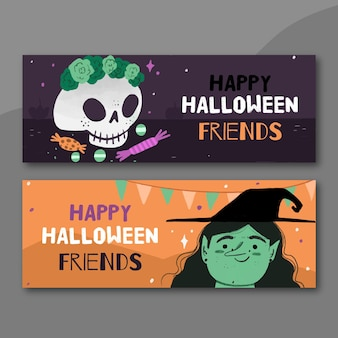 Hand drawn style halloween banners