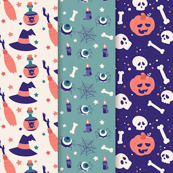 Hand drawn style halloween card collection