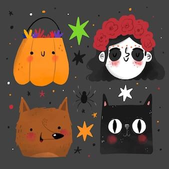 Коллекция элементов хэллоуина в стиле рисованной