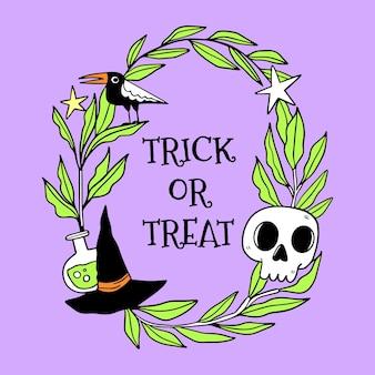 Cornice di halloween stile disegnato a mano