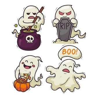 Collezione di fantasmi di halloween stile disegnato a mano