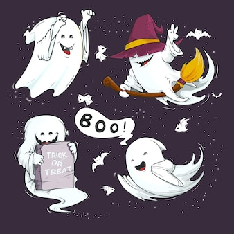 Hand drawn style halloween ghost collection