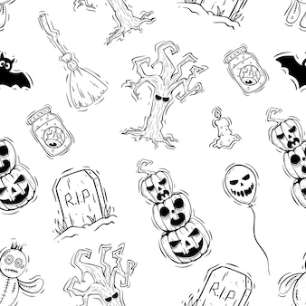 Hand drawn style of halloween icons in seamless pattern