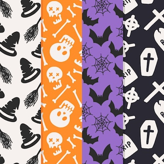 Hand drawn style halloween patterns