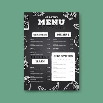 Modello di menu sano stile disegnato a mano