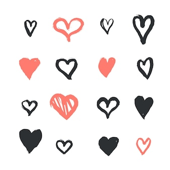 Hand drawn style heart pack